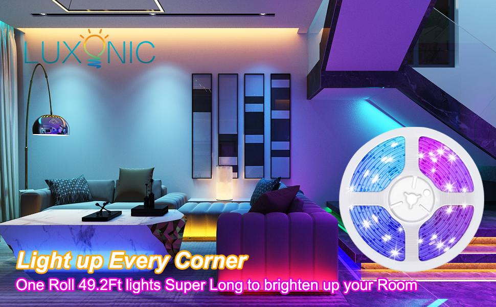 15M/49.2ft Bluetooth LED Strip Light Music Sync Flexible RGB led rope light