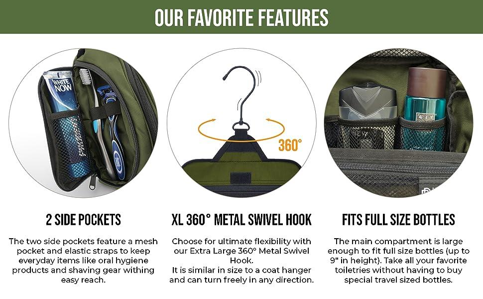 Features: side pockets, metal swivel hook, fits full size bottles, wash bag, bathroom bag, ebook
