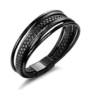 magnetic clasp leather bracelet