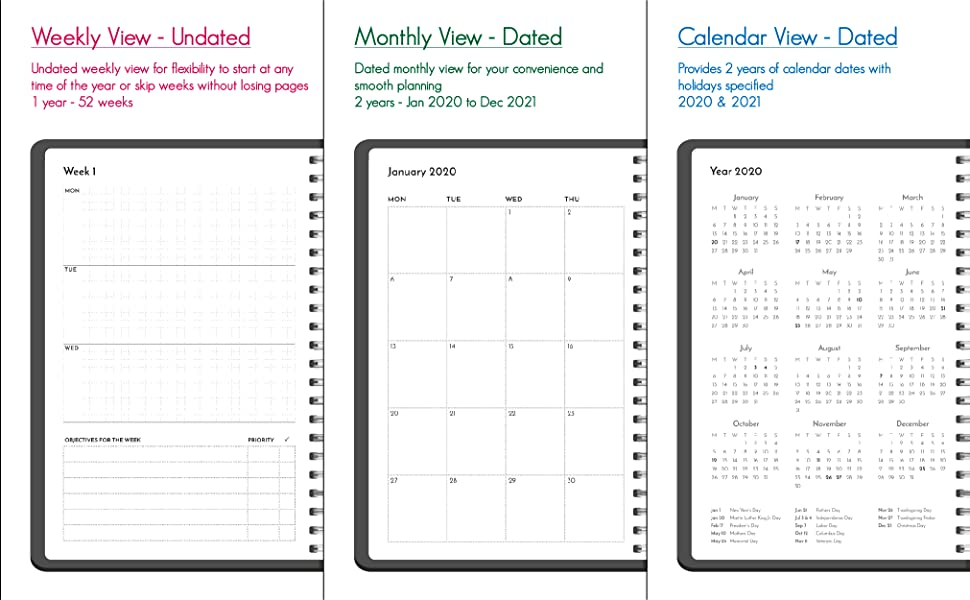 weekly undated monthly dated calendar 2020 2021 planner