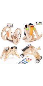 wood electric robot diy building project kit