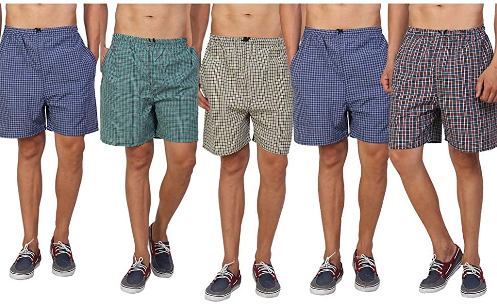 boxer cotton shorts for men combo packs set of 2 3 4 mini boys underwear with side pocket check