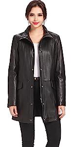 BGSD Women's Rachel Lambskin Leather Coat