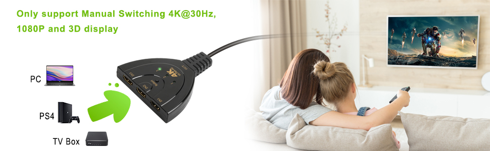 HDMI Switch 4K, Rybozen 3 Port HDMI Switcher 3 in 1 Out HDMI Splitter with High Speed Pigtail Cable