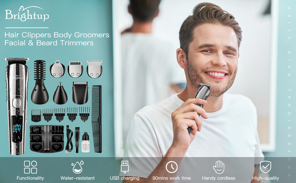 Mens Grooming Kits Beard Trimmer rechargeable cordless  Hair Clippers