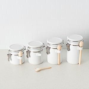 flour sugar canisters, sugar jars, food storage canister, tea coffee sugar canisters