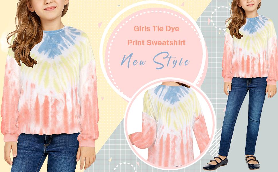 GRAPENT Girls Tie Dye Print Active Hoodie Long Sleeve Sweatshirts Pullover Tops 4-13 Years