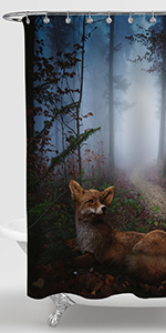 Fox in The Fall Foggy Forest Shower Curtain