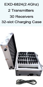 EXD-6824 2 transmitter 30 receivers with charging case
