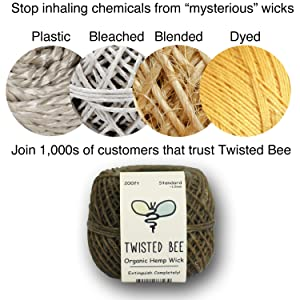 Twisted Bee 100% Organic Hemp Wick with Natural Beeswax Coating