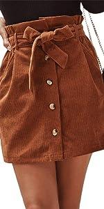 Corduroy Skirt with Belt