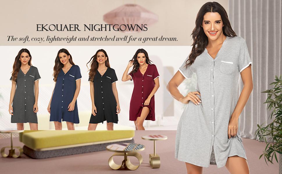 Ekouaer Bamboo Sleeping Shirts for Women Soft Sleeveless V Neck Cute Nightgowns