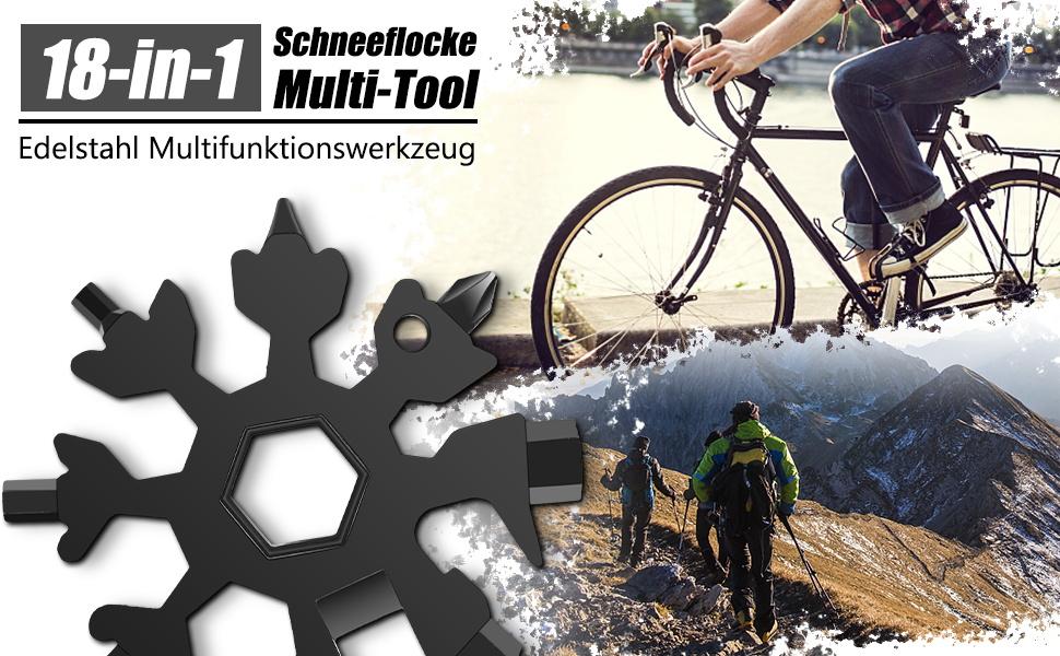 Schneeflockenschl/üssel 15-in-1 Multitool Edelstahl mit Schl/üsselring zum /Öffnen von Flasche Snowboarden usw. Fixieren von Fahrrad