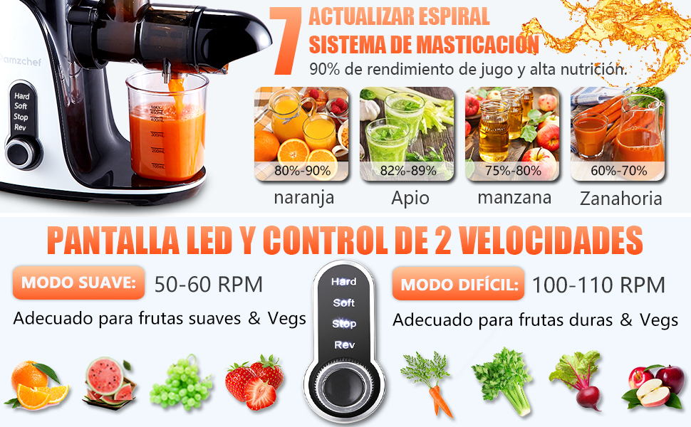 AMZCHEF Licuadora prensada en frío, licuadora de Frutas y Verduras ...