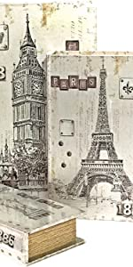 London Paris And New York Decorative Book Boxes Antique Invisible Magnetic