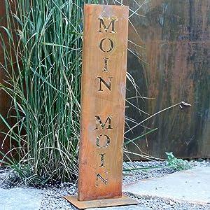 Rostikal | Edelrost Gartendeko Ständer mit Schriftzug Moin