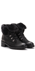 Vintage Foundry Co. Filo Women's Combat Black Leather Laced Zip-up Mid-Calf Boot platform block