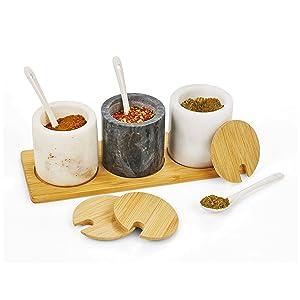 homiu marble spice pots jars store table fancy