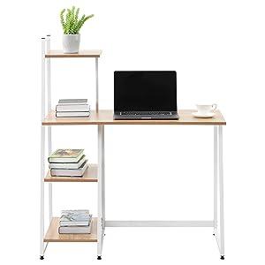 Bureau d'ordinateur avec 4 étagères de rangement