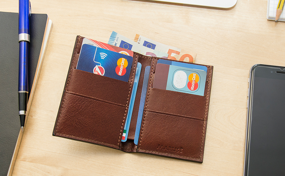 The Maruse Handmade Leather Slim Wallet delivers the experience of fine Italian leather