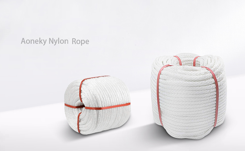 Aoneky Nylon Rope White Pull Rope Cord 3//4 inch x 100 Ft