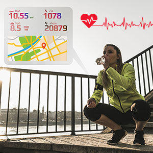 fitness watch can be a real-time heart rate monitor, track your exercise distance, calories burns