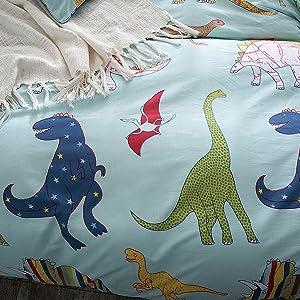 Merryfeel 100% Cotton Dinosaur Print Duvet Cover Set for Kids Bedding