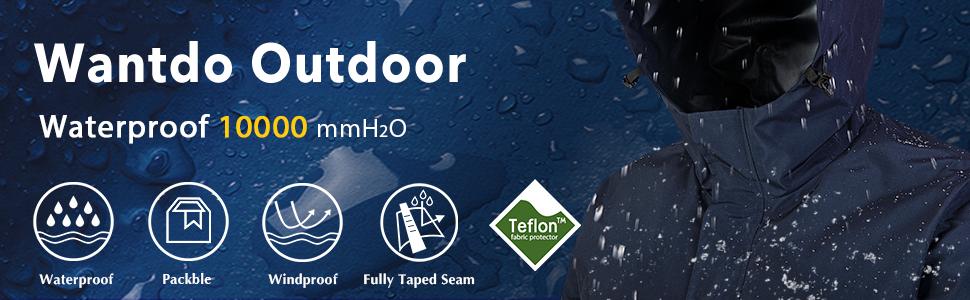 Wantdo Men's Waterproof Raincoat Light Hooded Windbreaker Outdoor Trench Coat