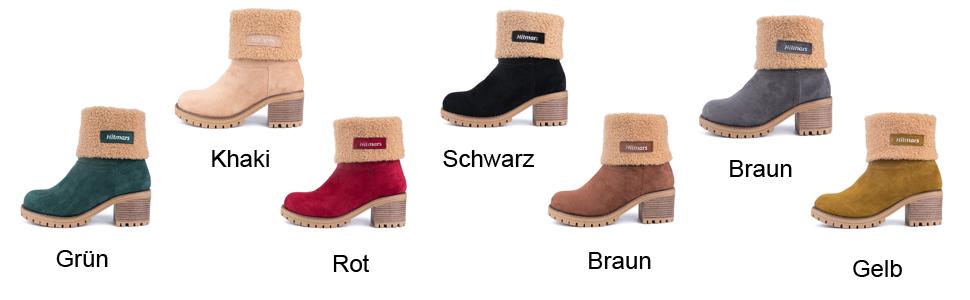 NEOKER Damen Winterschuhe Schneestiefel Plateau Shorts Stiefel Chunky Heels Boots Stiefeletten Fell Bequeme Gef/üttert Mode Schuhe 6 cm Schwarz Braun Khaki 35-43