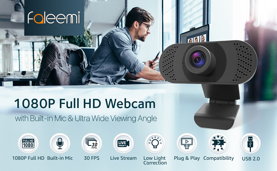 Webcam with Microphone, USB Desktop Laptop Computer Camera with Plug and Play, Auto Light Correction