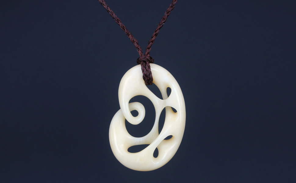 Xkchief Maori Twist Cow Bone Carving Irregular Infinity 2 Butterfly Abstract Hollow out Jewelry