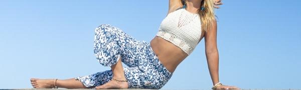 PIYOGA Pants Flared Capris Tall Petite Plus Size Comfy Travel Beach Summer Flowy Loose Pockets Yoga