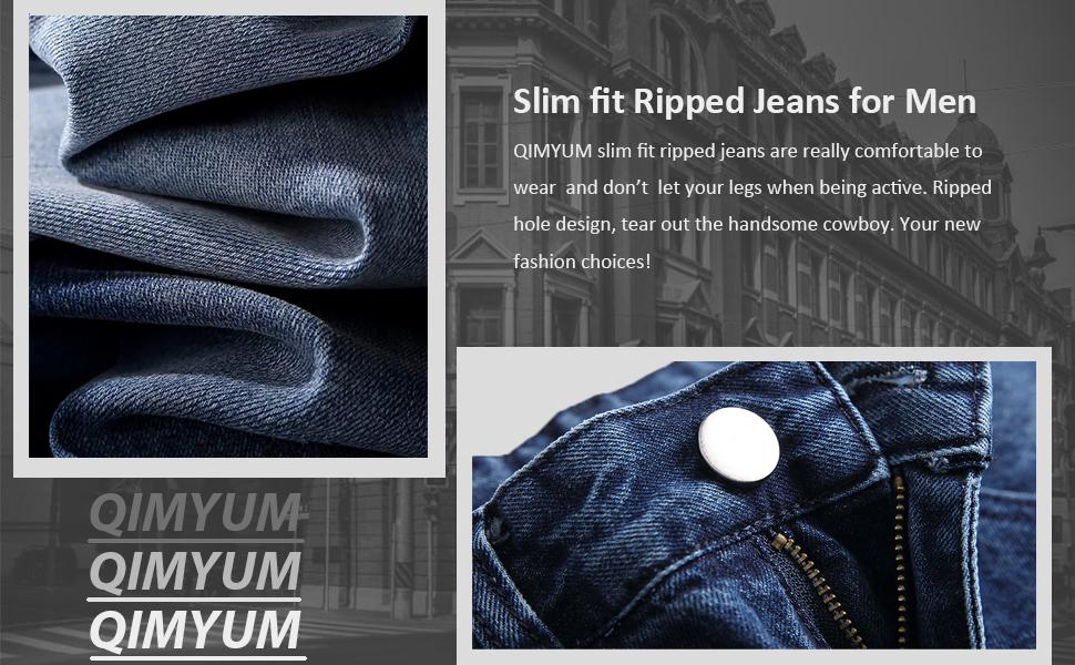 Men's ripped jeans slim fit straight leg distressed jeans men slim ripped jeans for men