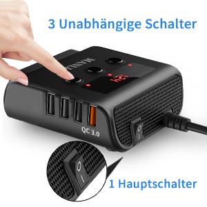 Hauptschalter und 3 Unabhängige Schaltern von diesem Auto Adapter