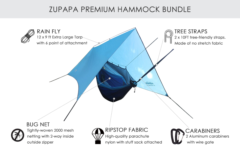 camping hammock with net rainfly