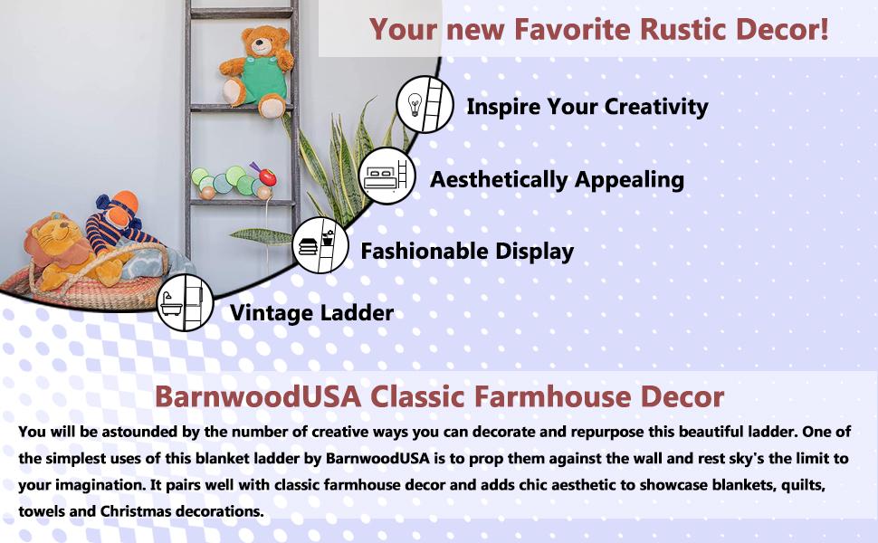 Barnwood Rustic Ladder Wooden Decor Advantages