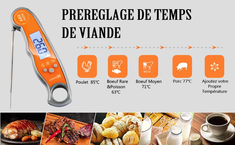 thermomètre multifonction à grand écran
