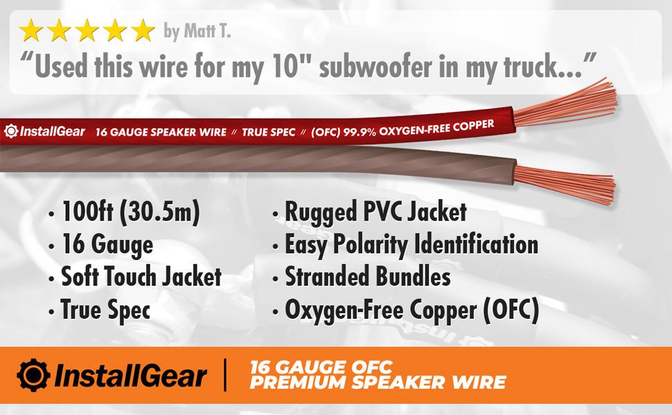 InstallGear 10 Gauge Speaker Wire OFC Oxygen-Free Copper, 10-feet