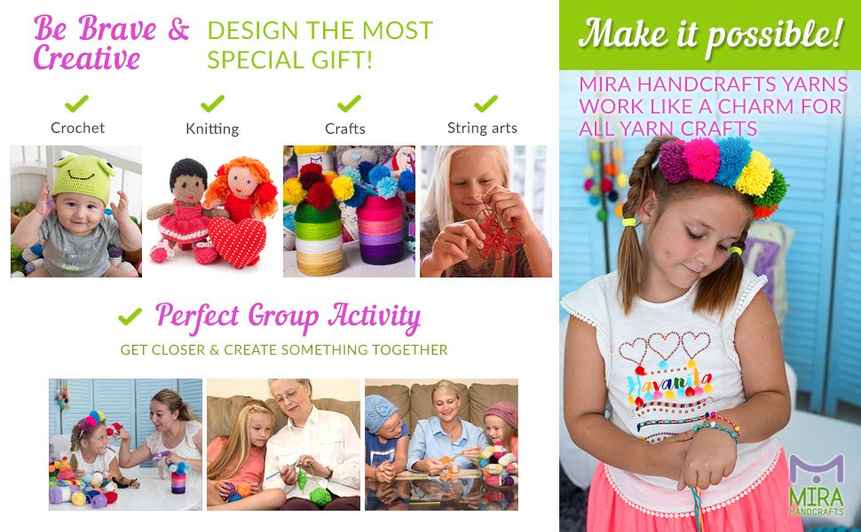 acrylic yarn, crochet kit, amigurumi, granny squares, knitting, kids crafts, yarn storage bag