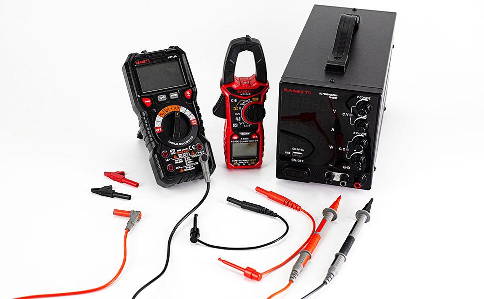 Mini-Hooks Needle Probe 10A for Fluke//AstroAI//INNOVA Multimeter Clamp Meter KAIWEETS/® 8 Pices Test Lead with Alligator Clips CAT III 1000V /& CAT IV 600V Voltmeter Multimeter Test Leads Kit