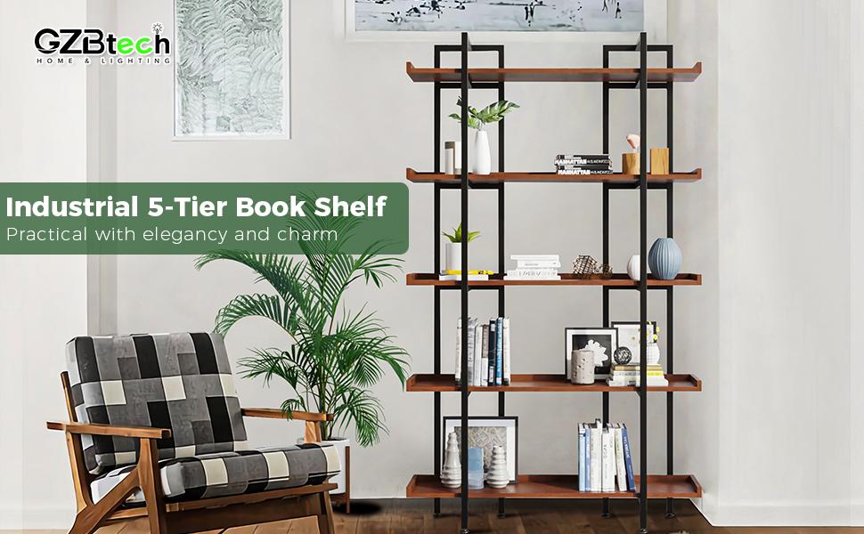 wood metal bookcase