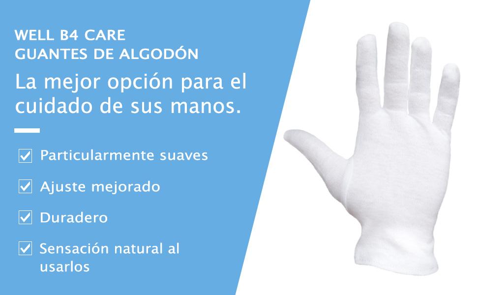Dermatest: Excelente - Well B4® Care Guantes de algodón, guantes de hilo hechos de 100% algodón para su protección cuando tenga la piel seca, 3 pares, guantes blancos, M: Amazon.es: Belleza