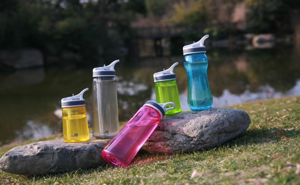 Water Bottles on Rock