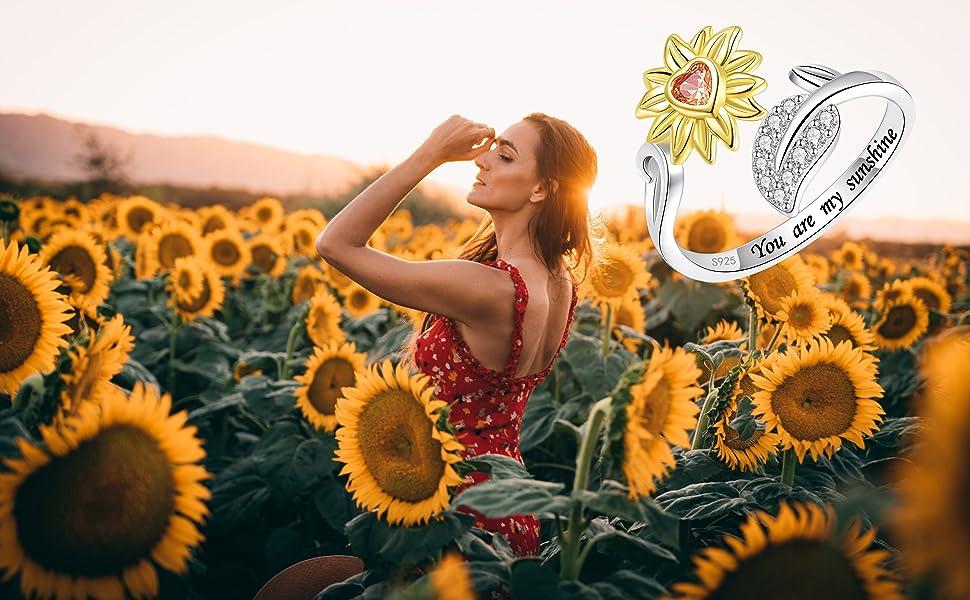 sterling silver sunflower ring for women