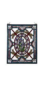 Bieye W10031 red dragonfly Tiffany style stained glass window panel