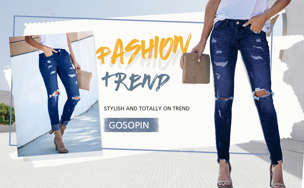 Women's Casual Mid Waist Skinny Ripped Jeans Denim Pants