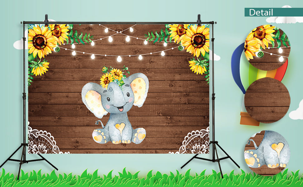 Funnytree Sunflower Elephant Party Rustic Wooden Floor Baby Shower Backdrop