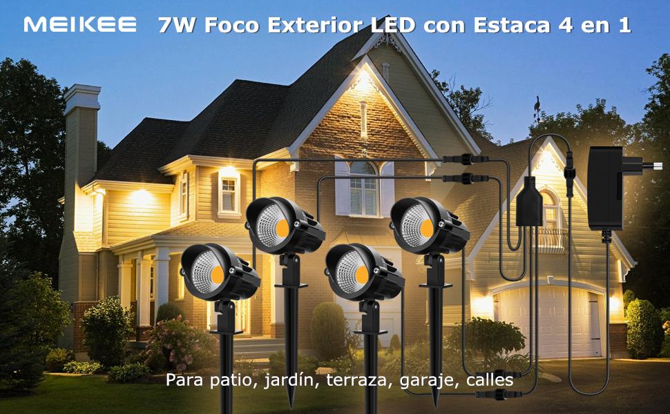 MEIKEE Foco Proyector LED 12V DC 7W Lámpara con Estaca Luz Blanco Cálido IP66 Impermeable Foco Exterior de Bajo Voltaje LED Bombilla luminación para Jardin, Calzada, Patio, Césped, Camino - 4 en