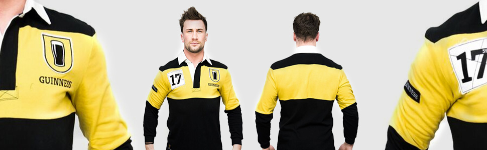 mustard black mens rugby shirt