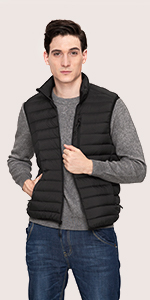lightweight packable puffer vest recycled polyester repreve pockets warm light windproof lapasa mens